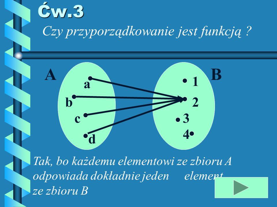 Ćw.3 A B Czy przyporządkowanie jest funkcją 1 a b 2 c 3 4 d