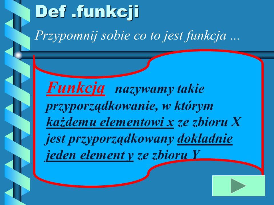 Def .funkcji Przypomnij sobie co to jest funkcja ...