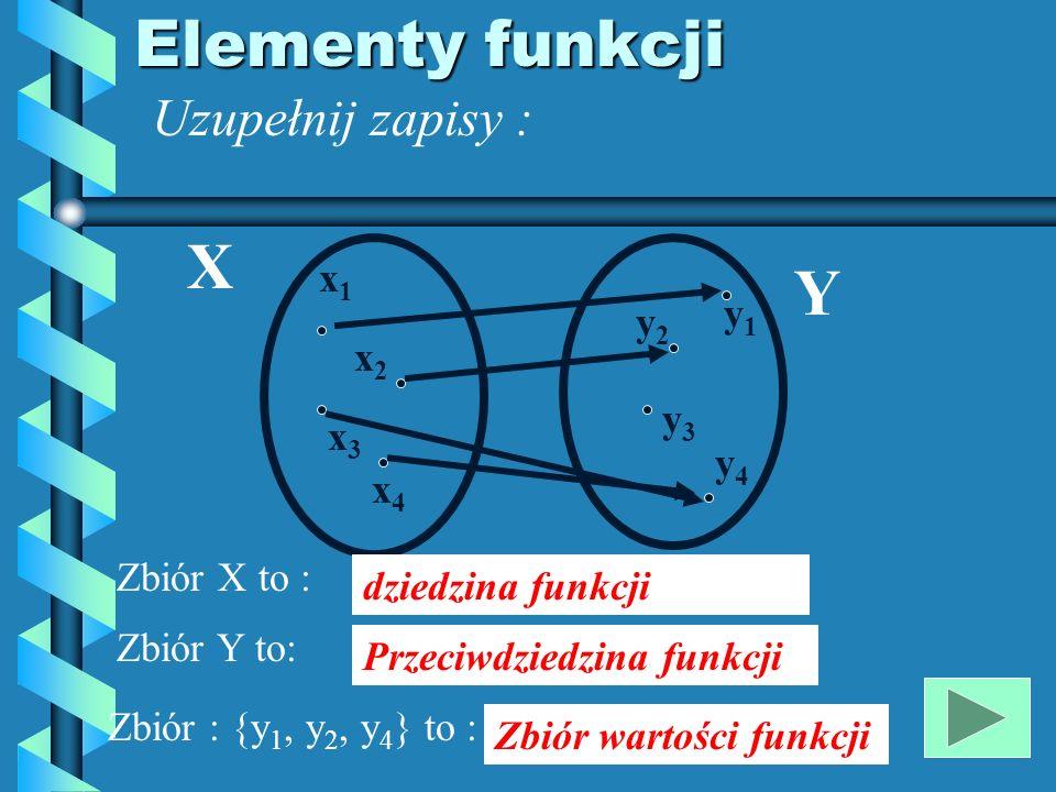 Elementy funkcji X Y Uzupełnij zapisy : x1 y1 y2 x2 y3 x3 y4 x4