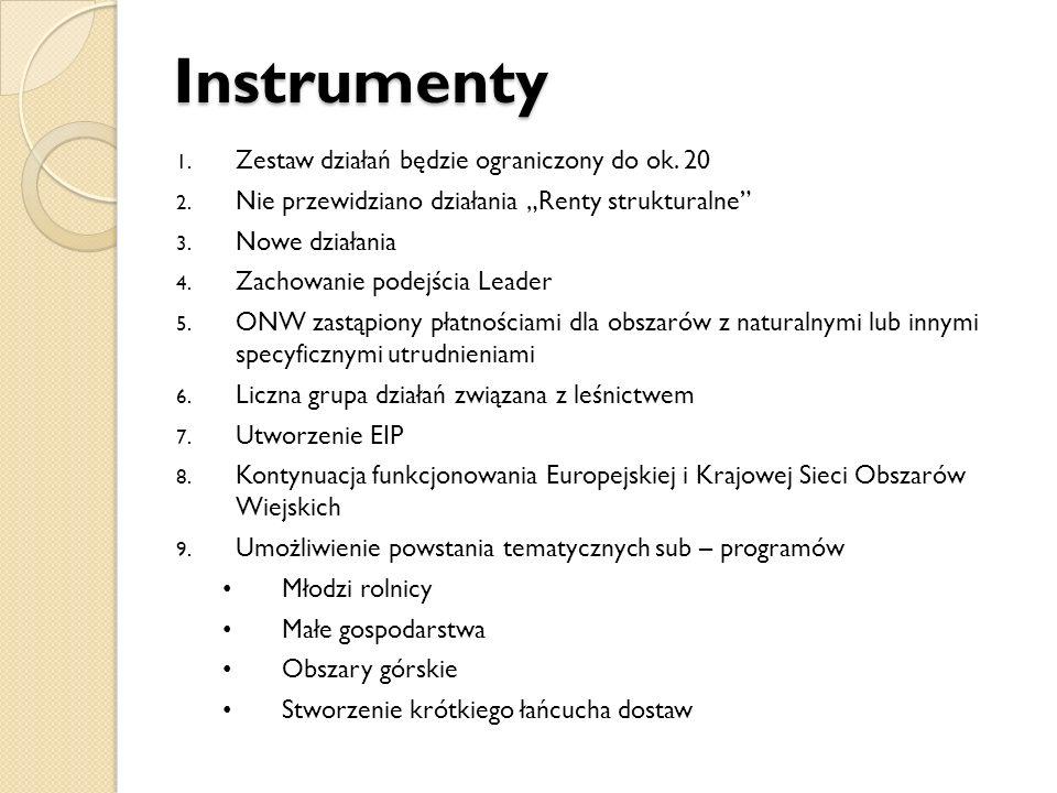 Instrumenty Zestaw działań będzie ograniczony do ok. 20