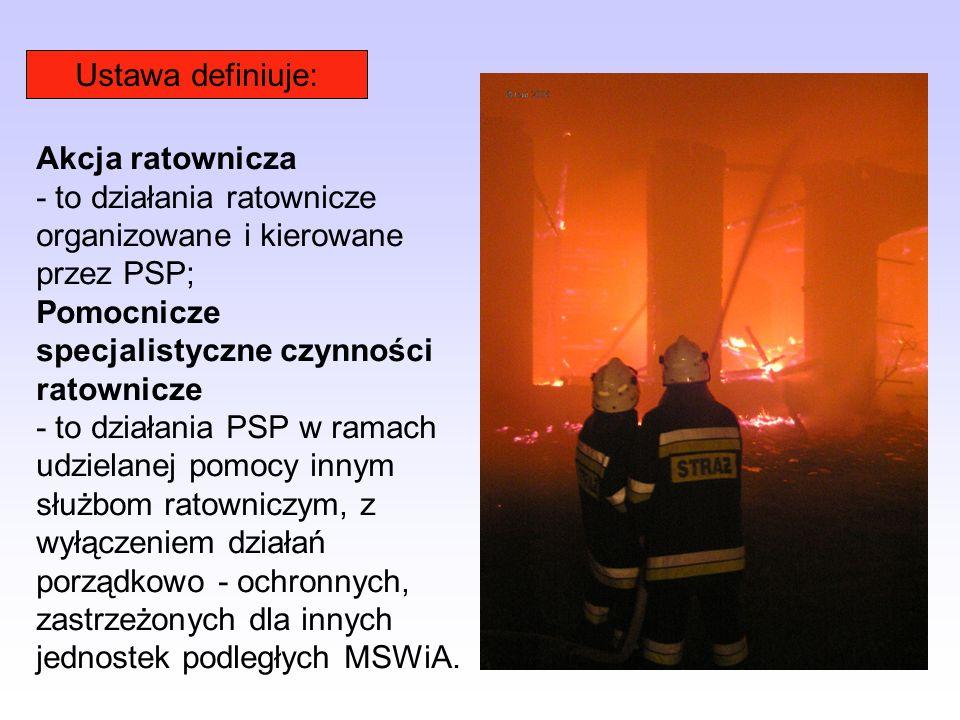 Ustawa definiuje: Akcja ratownicza. - to działania ratownicze organizowane i kierowane przez PSP; Pomocnicze specjalistyczne czynności ratownicze.