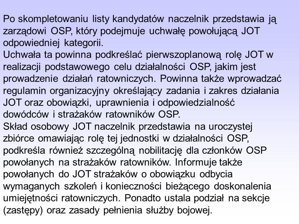 Po skompletowaniu listy kandydatów naczelnik przedstawia ją zarządowi OSP, który podejmuje uchwałę powołującą JOT odpowiedniej kategorii.