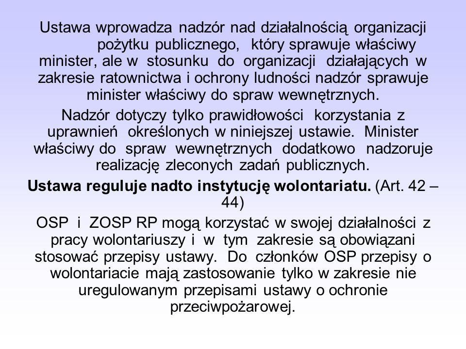 Ustawa reguluje nadto instytucję wolontariatu. (Art. 42 – 44)