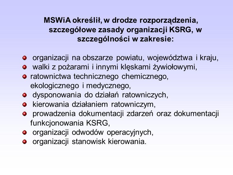 MSWiA określił, w drodze rozporządzenia, szczegółowe zasady organizacji KSRG, w szczególności w zakresie: