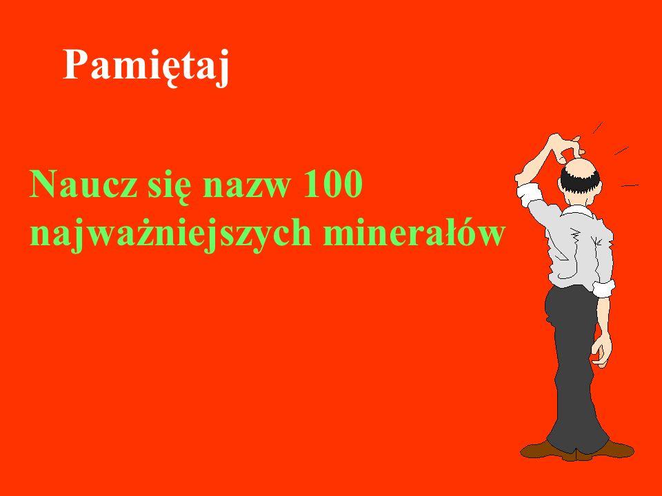 Pamiętaj Naucz się nazw 100 najważniejszych minerałów