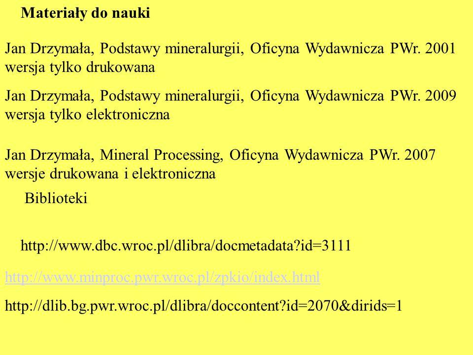 Materiały do naukiJan Drzymała, Podstawy mineralurgii, Oficyna Wydawnicza PWr. 2001 wersja tylko drukowana.