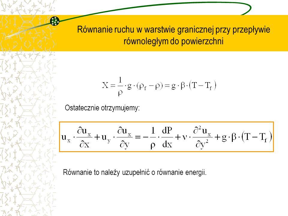 Równanie ruchu w warstwie granicznej przy przepływie równoległym do powierzchni