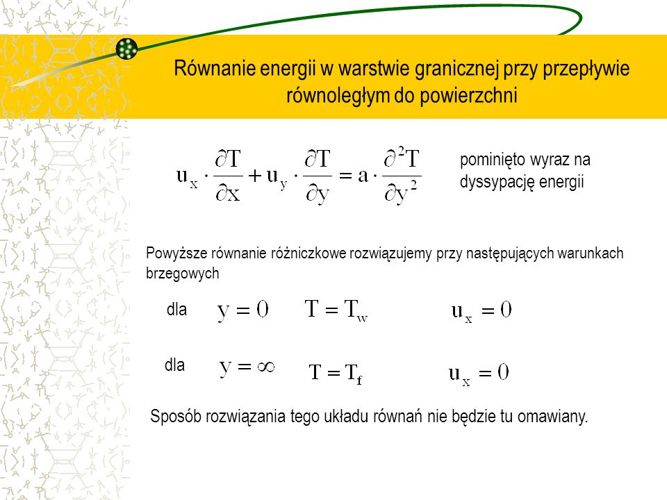 Równanie energii w warstwie granicznej przy przepływie równoległym do powierzchni