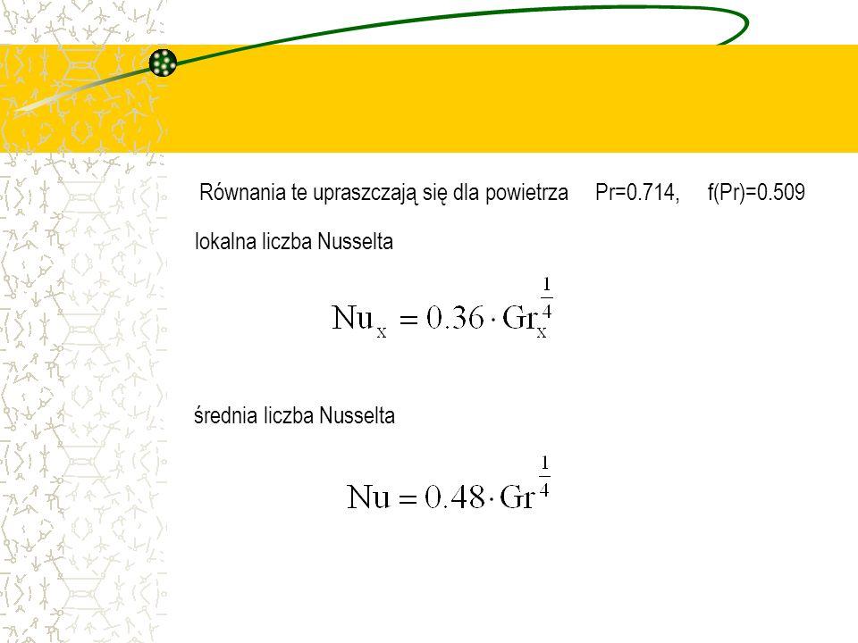 Równania te upraszczają się dla powietrza Pr=0.714, f(Pr)=0.509