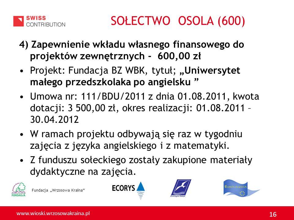 SOŁECTWO OSOLA (600) 4) Zapewnienie wkładu własnego finansowego do projektów zewnętrznych - 600,00 zł.