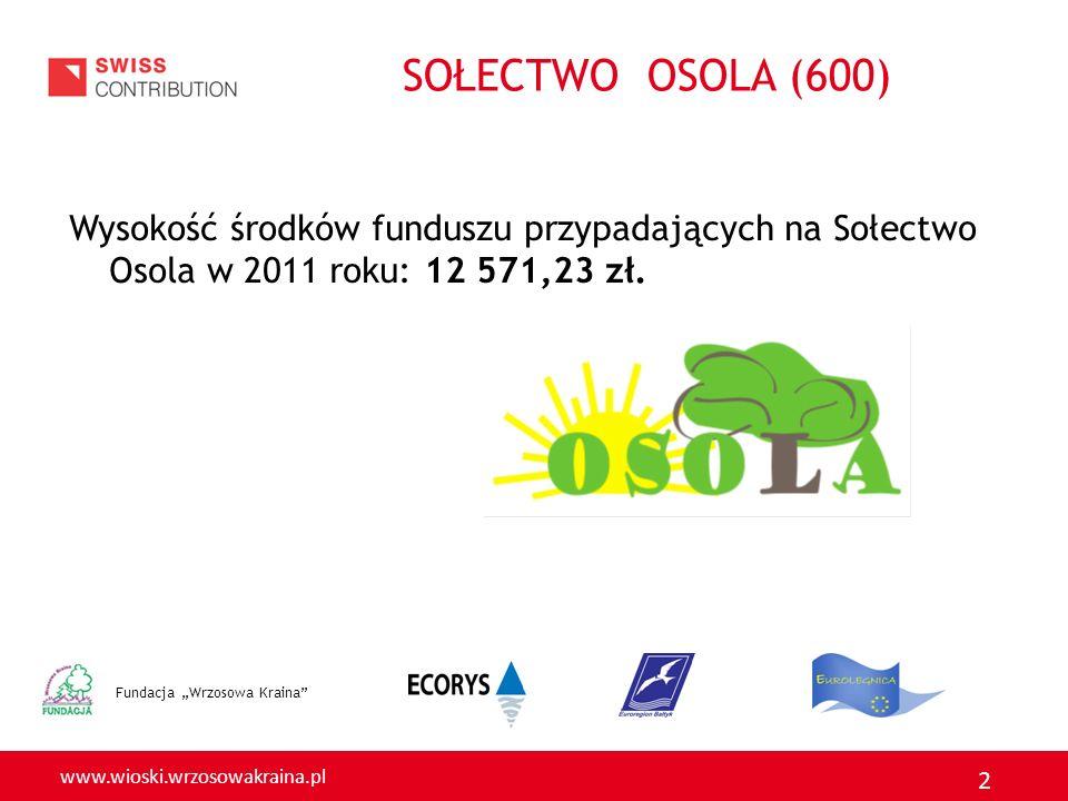 SOŁECTWO OSOLA (600) Wysokość środków funduszu przypadających na Sołectwo Osola w 2011 roku: 12 571,23 zł.