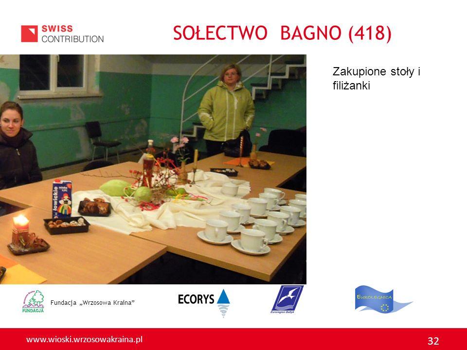 SOŁECTWO BAGNO (418) Zakupione stoły i filiżanki