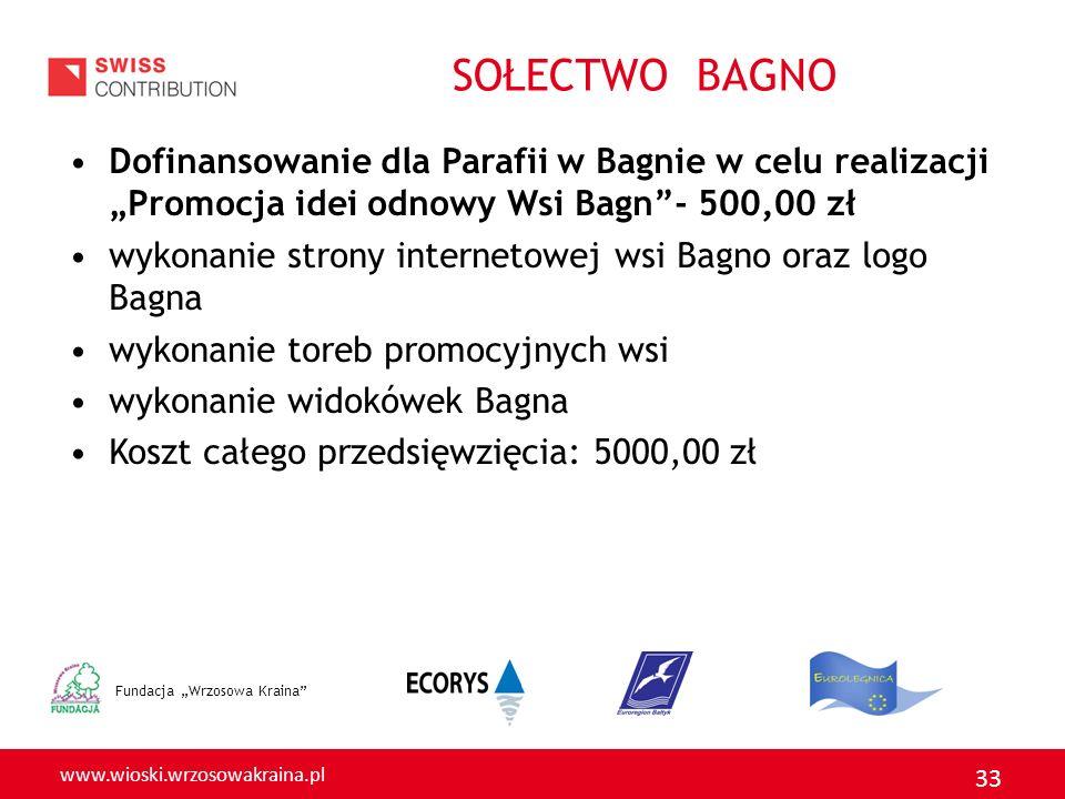 """SOŁECTWO BAGNO Dofinansowanie dla Parafii w Bagnie w celu realizacji """"Promocja idei odnowy Wsi Bagn - 500,00 zł."""