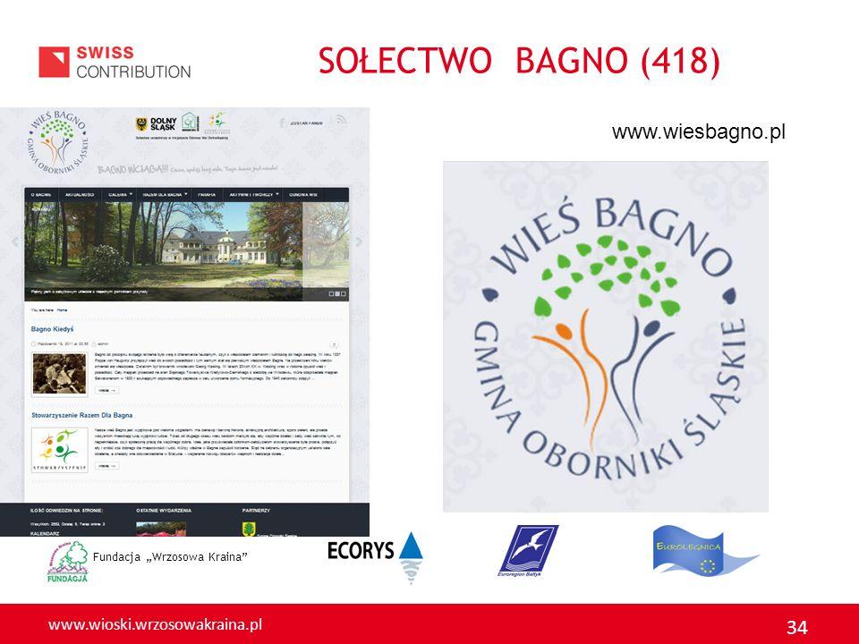 """SOŁECTWO BAGNO (418) www.wiesbagno.pl Fundacja """"Wrzosowa Kraina"""