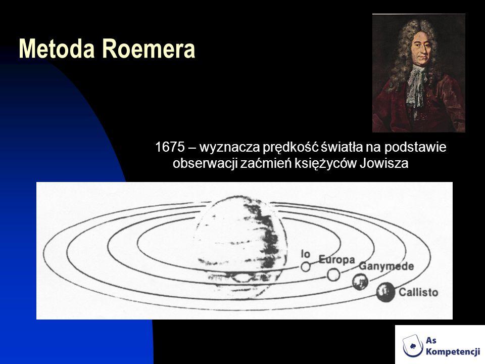 Metoda Roemera 1675 – wyznacza prędkość światła na podstawie obserwacji zaćmień księżyców Jowisza