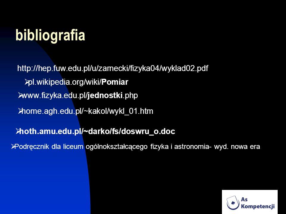 bibliografia http://hep.fuw.edu.pl/u/zarnecki/fizyka04/wyklad02.pdf