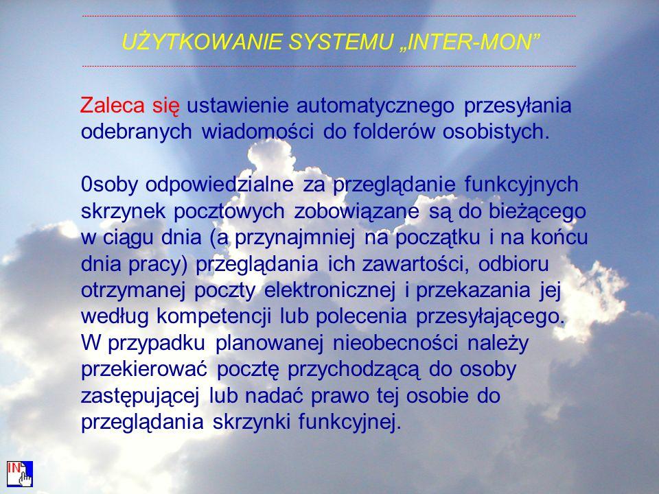 "UŻYTKOWANIE SYSTEMU ""INTER-MON"