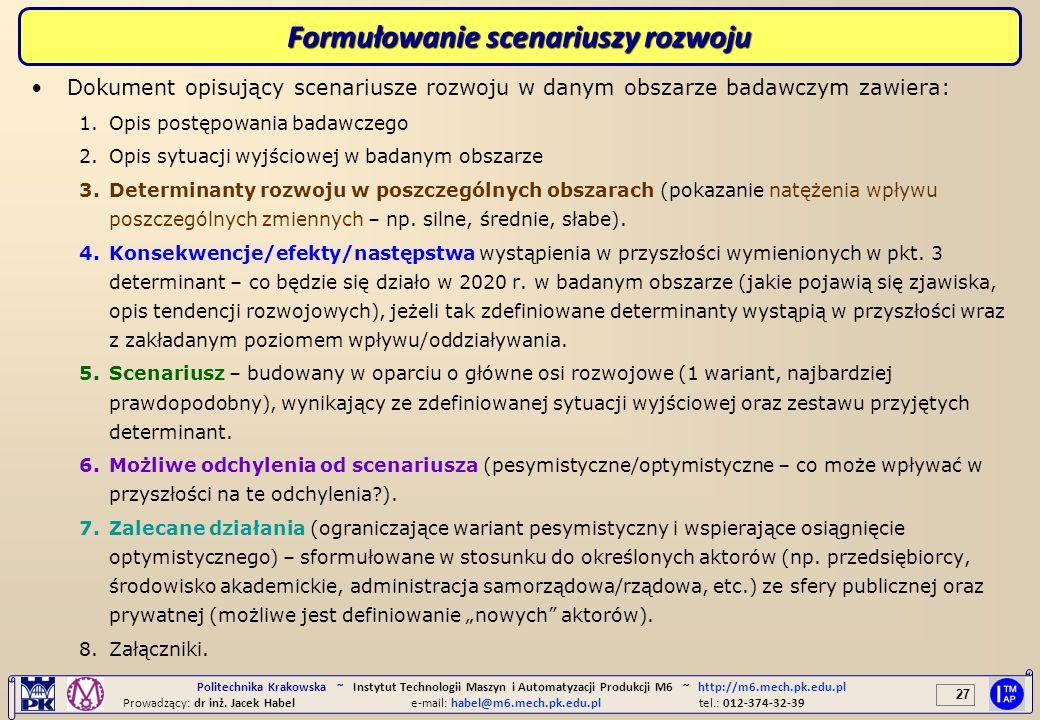 Formułowanie scenariuszy rozwoju
