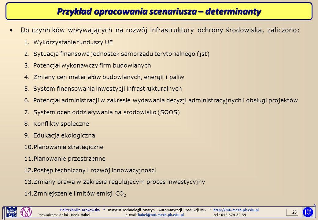 Przykład opracowania scenariusza – determinanty