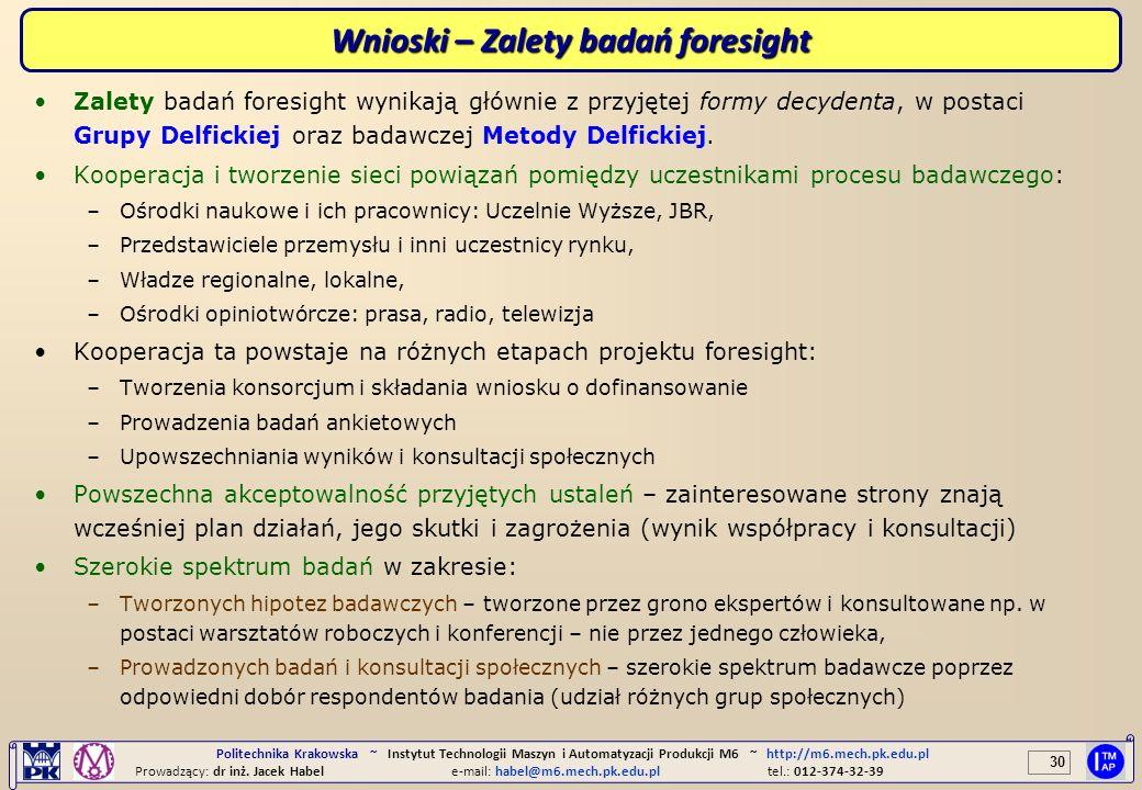 Wnioski – Zalety badań foresight