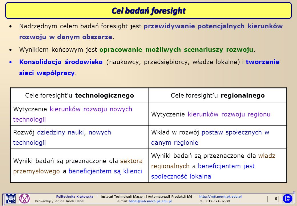 Cel badań foresightNadrzędnym celem badań foresight jest przewidywanie potencjalnych kierunków rozwoju w danym obszarze.
