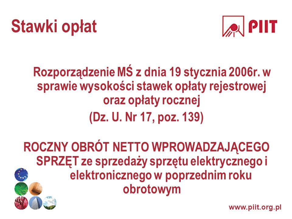 Stawki opłatRozporządzenie MŚ z dnia 19 stycznia 2006r. w sprawie wysokości stawek opłaty rejestrowej oraz opłaty rocznej.