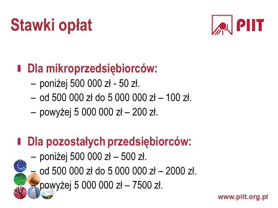 Stawki opłat Dla mikroprzedsiębiorców: