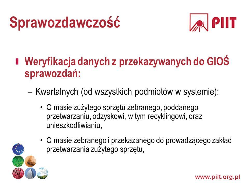Sprawozdawczość Weryfikacja danych z przekazywanych do GIOŚ sprawozdań: Kwartalnych (od wszystkich podmiotów w systemie):