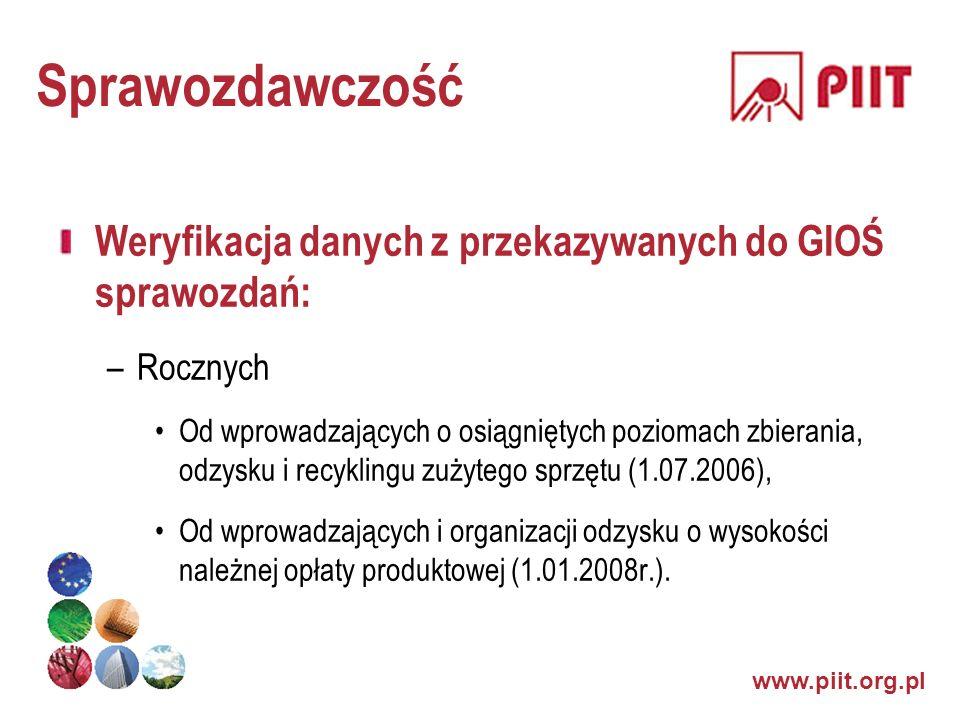 Sprawozdawczość Weryfikacja danych z przekazywanych do GIOŚ sprawozdań: Rocznych.