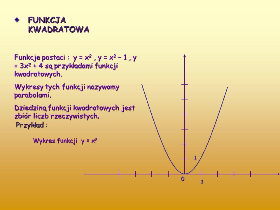 FUNKCJA KWADRATOWA Funkcje postaci : y = x2 , y = x2 – 1 , y = 3x2 + 4 są przykładami funkcji kwadratowych.