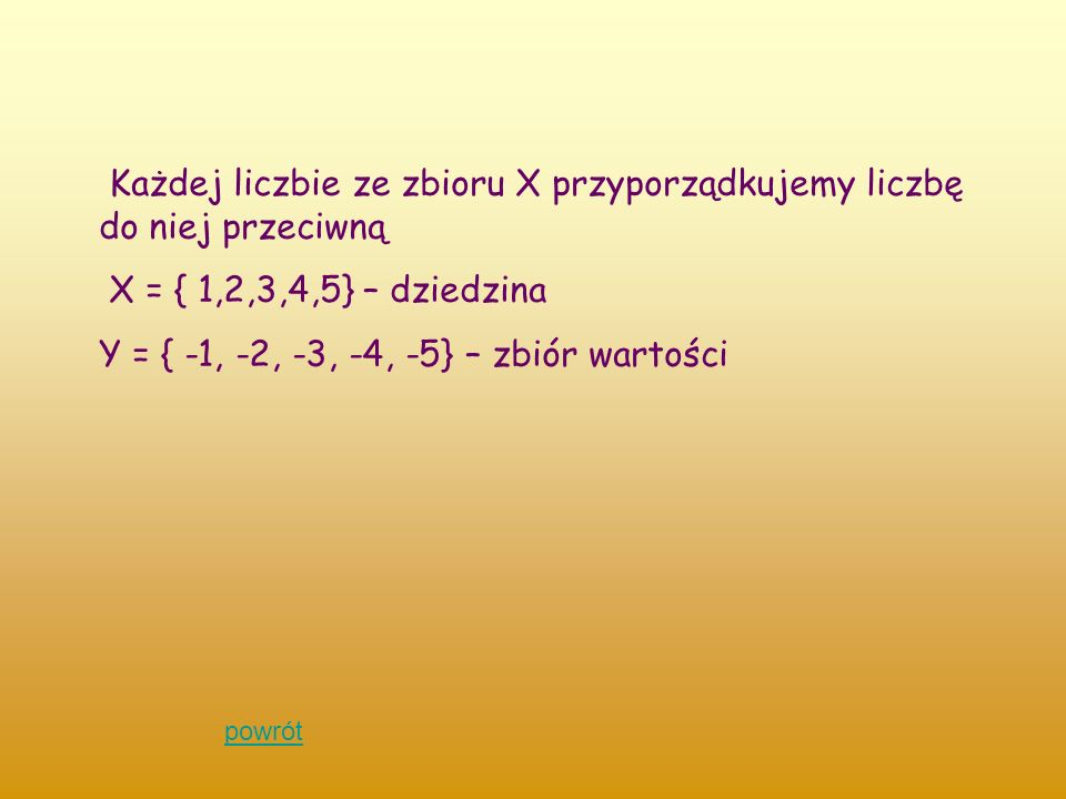 Każdej liczbie ze zbioru X przyporządkujemy liczbę do niej przeciwną