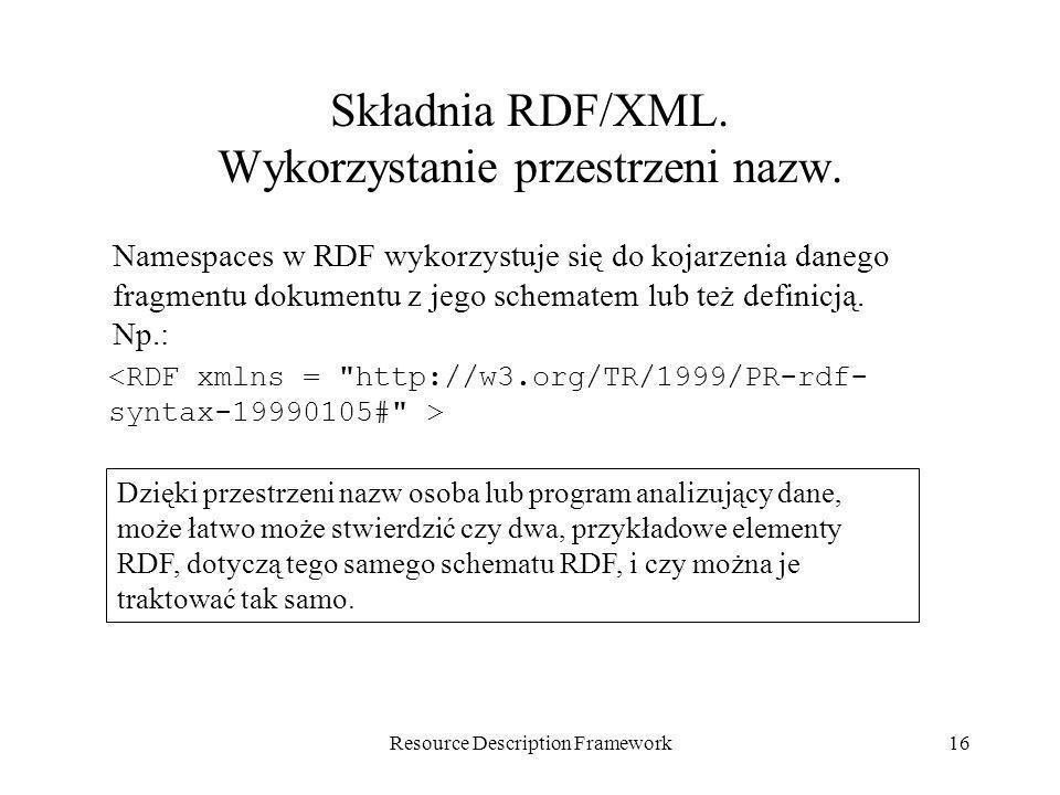 Składnia RDF/XML. Wykorzystanie przestrzeni nazw.