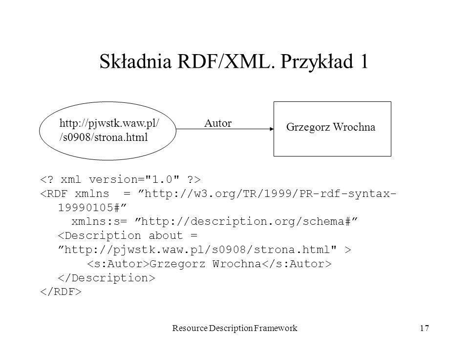 Składnia RDF/XML. Przykład 1