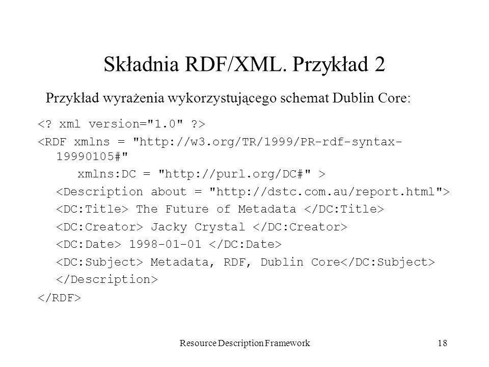 Składnia RDF/XML. Przykład 2