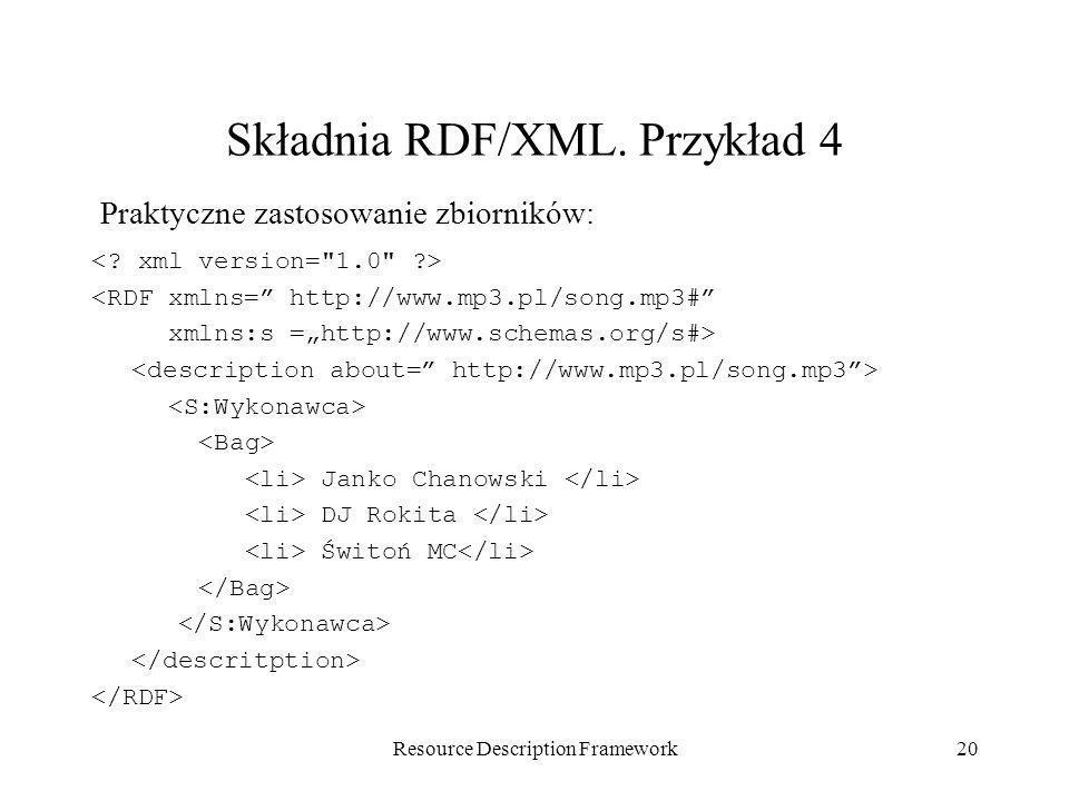 Składnia RDF/XML. Przykład 4