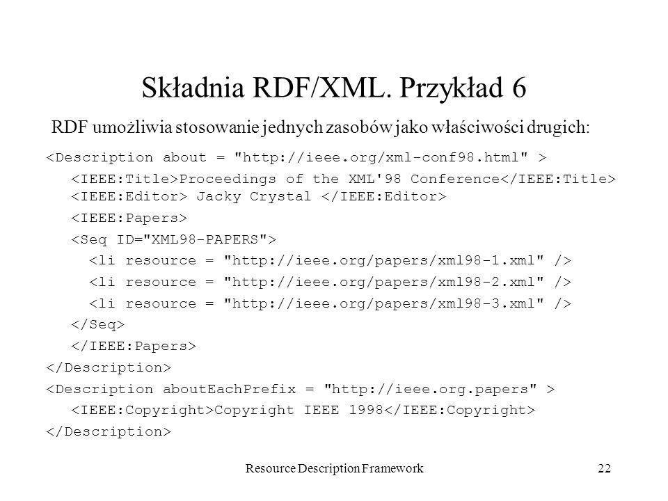 Składnia RDF/XML. Przykład 6