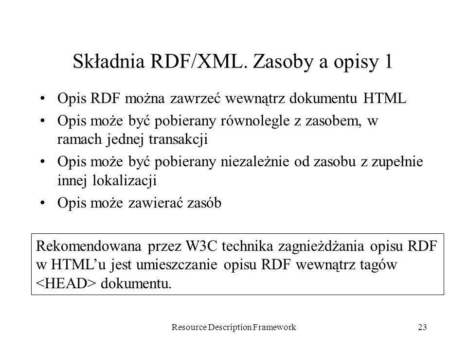 Składnia RDF/XML. Zasoby a opisy 1