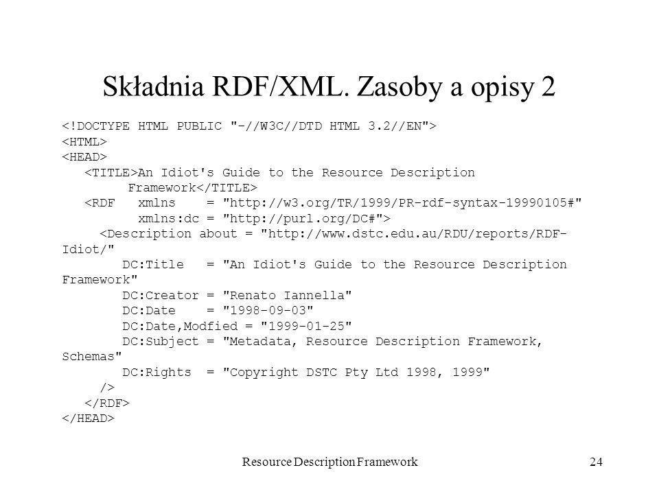 Składnia RDF/XML. Zasoby a opisy 2