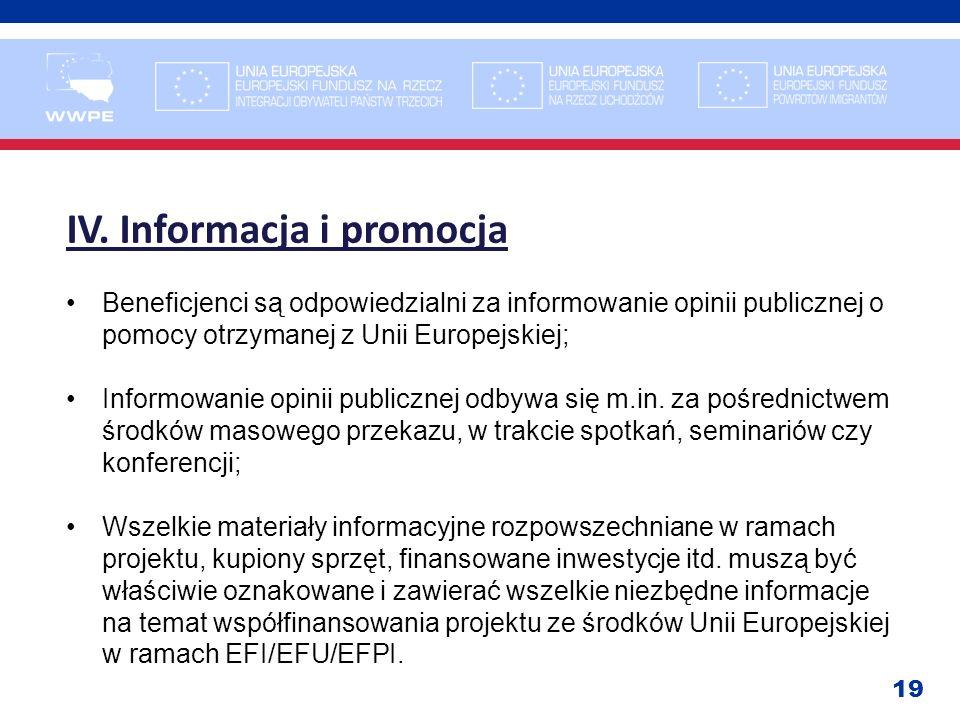 IV. Informacja i promocja