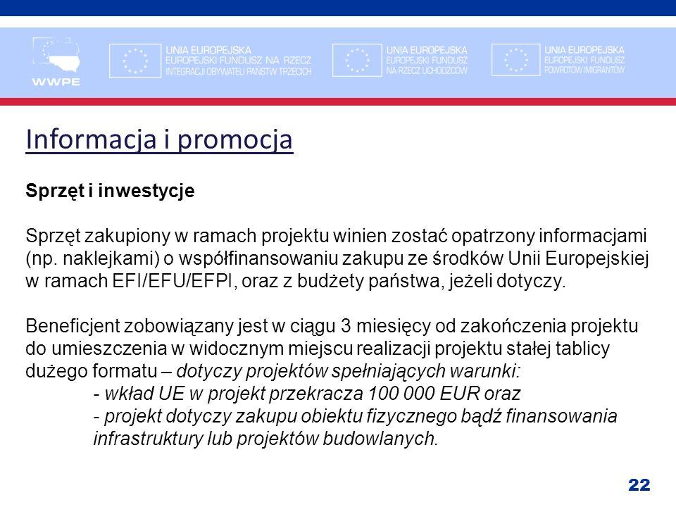Informacja i promocja Sprzęt i inwestycje