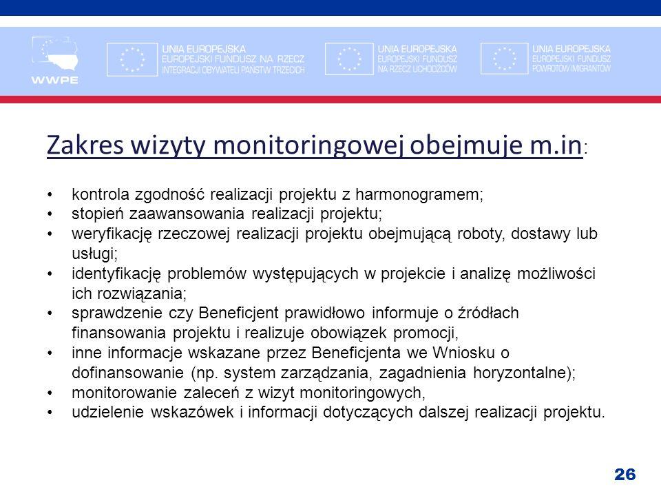 Zakres wizyty monitoringowej obejmuje m.in: