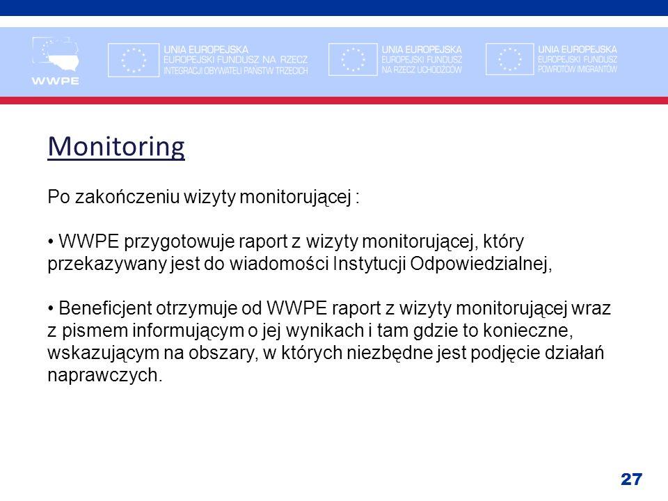 Monitoring Po zakończeniu wizyty monitorującej :