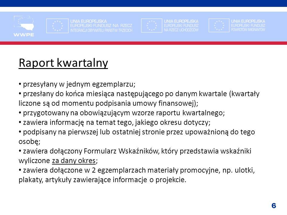 Raport kwartalny przesyłany w jednym egzemplarzu;