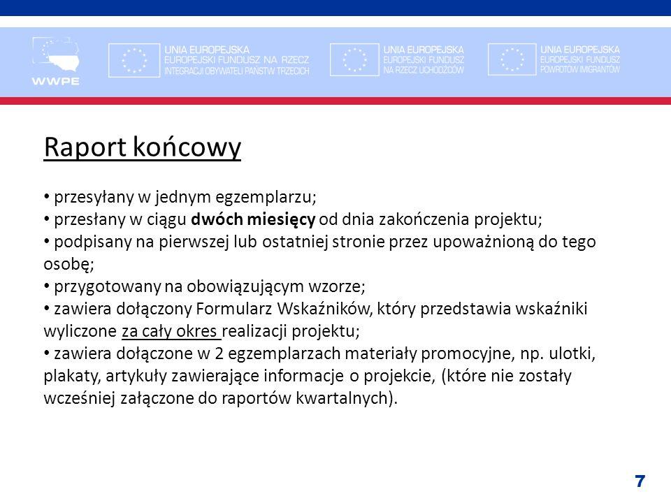 Raport końcowy przesyłany w jednym egzemplarzu;