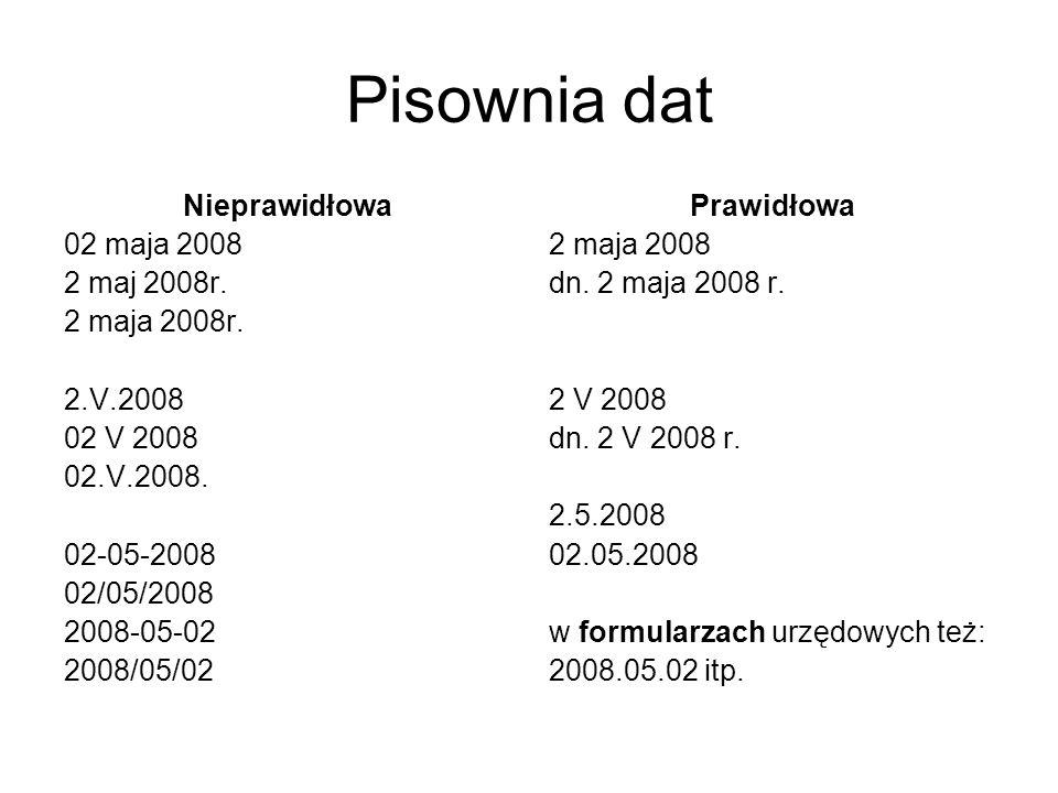 Pisownia dat Nieprawidłowa 02 maja 2008 2 maj 2008r. 2 maja 2008r.
