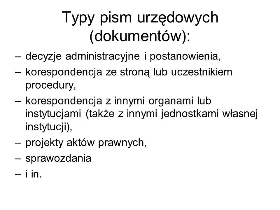 Typy pism urzędowych (dokumentów):