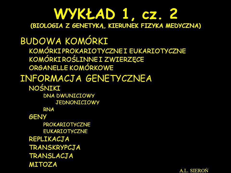 WYKŁAD 1, cz. 2 (BIOLOGIA Z GENETYKĄ, KIERUNEK FIZYKA MEDYCZNA)