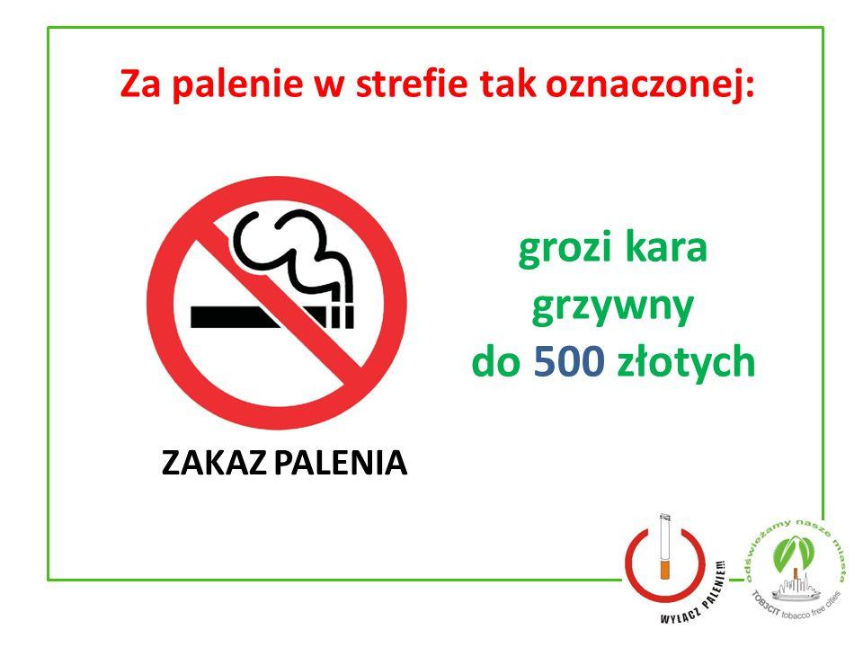 Za palenie w strefie tak oznaczonej: