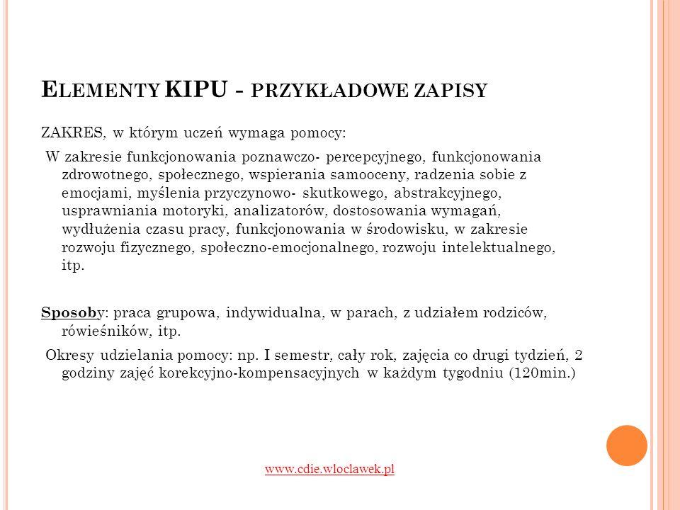 Elementy KIPU - przykładowe zapisy