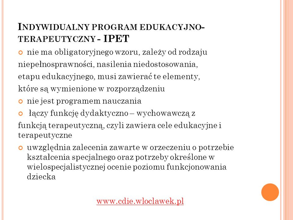 Indywidualny program edukacyjno- terapeutyczny - IPET
